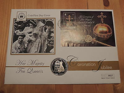 2003 St Helena Fifty Pence Coin First Day Cover - Coronation Jubilee
