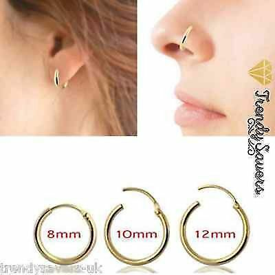1.2mm Sterling Silver Septum Clicker Nose Ear Rings Piercing Tragus Hoop Rings