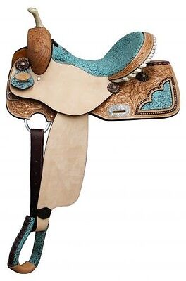 """15"""" Double T barrel style saddle with TEAL filigree print seat! NEW HORSE TACK"""
