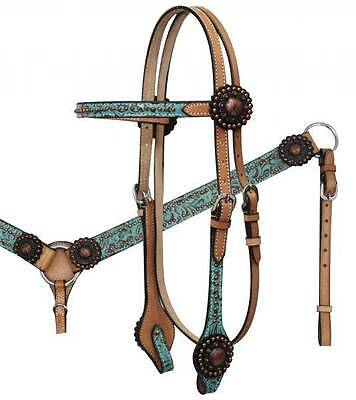Showman Bridle & Breast collar Set w/ TEAL Filigree Print & Antique Conchos!