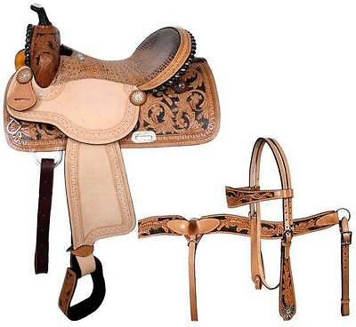 "14"" Double T Barrel Saddle Alligator Print Seat and Matching HS and BC Set!"