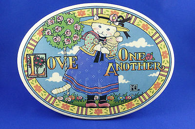Mary Engelbreit Cat Holding Mouse LOVE ONE ANOTHER Ceramic Plaque Wall or Shelf