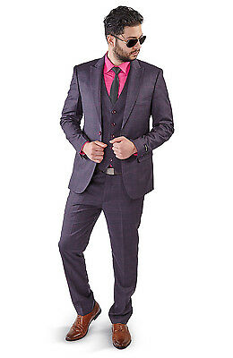 Slim Fit 2 Button Vest Optional Peak lapel Windowpane Plaid Suit Azar Purple1698