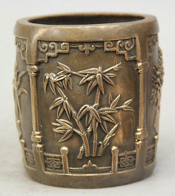 """4"""" Marked Chinese Dynasty Copper Four Seasons flower Brush Pot pencil vase"""