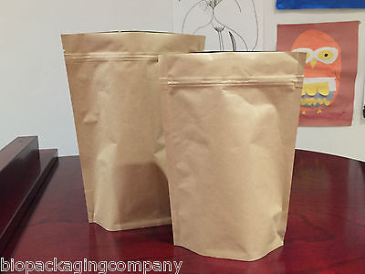 50 x Kraft Coffee Bag Foil Inner Ziplock with one-way Air Valve 250g/ 500g (CP)