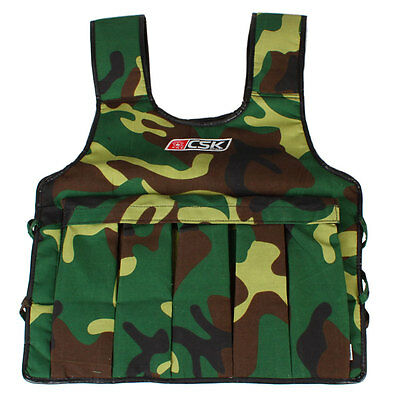 20LBS Adjustable Weight Weighted Camo Vest Exercise Fitness Training Workout