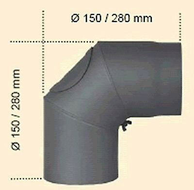 Flue Pipe Piece of kaminanschluss Ø 150 mm 90° Curved Stove Grey Cast Iron