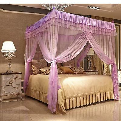 4 Post Bedding Curtain Romantic Princess Canopy Mosquito Net Bed Queen King Size