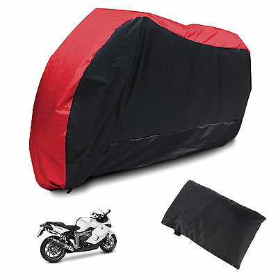 L Waterproof Outdoor Motorcycle Motorbike Scooter Motor Bike Cover Red & black