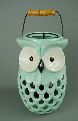 Large Quirk Mint Green Ceramic Owl Lantern with Handle & Pull up Candle Housing