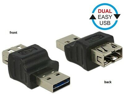 Delock Adapter dual EASY-USB2.0 Type-A male-female Reversible in both directions