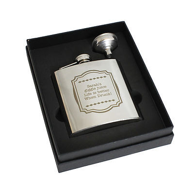 Personalized Engraved Framed 6oz Hip flask - Free Engraving, Birthday, Weddings