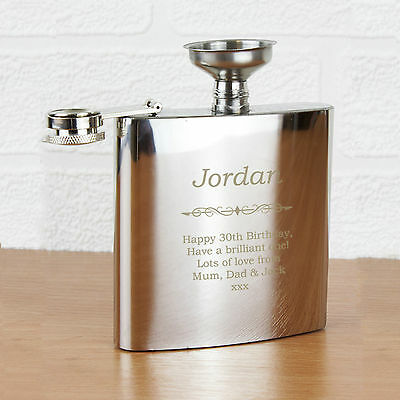 Personalized Engraved 6oz Hip flask - Bold Name & Message - Wedding Favours
