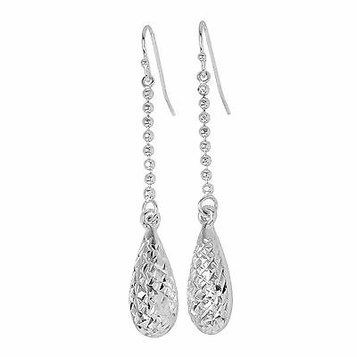 925 Real Sterling Silver Diamond Cut Pear Shaped Dangle Earrings Drop Hooks