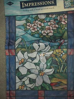 New Spring Garden Flag Flowers Stained Glass Lillies White Lily Flowers  L@@K