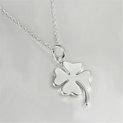 Four Leaf Clover Pendant Necklace Plated Jewelry Women 925 Sterling Silver Gift