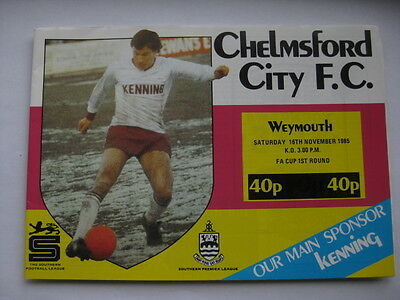 Chelmsford City v Weymouth 1985/86 FA Cup Programme