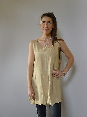 Vintage retro true 90s 14 16 L leather tunic top layers beige asym