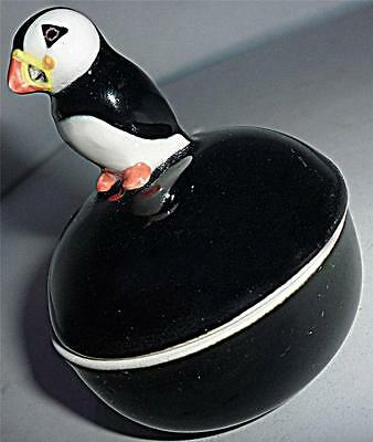 Lovely Unusual Collectable Quail Puffin Bird Figure Trinket Ring Pot Jewellery