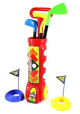 Deluxe Kid's Happy Golfer Caddy Toy Golf Set w/ 3 Golf Clubs & Balls PS311 Red