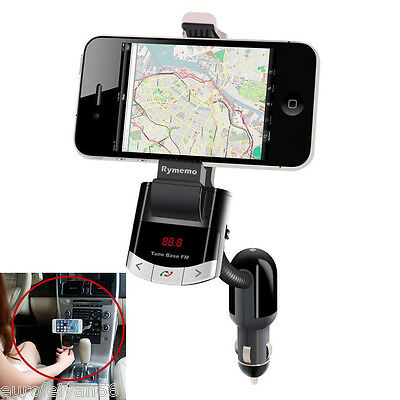 DC12V Car Wireless Bluetooth FM AUX Music Player USB Charger Phone Mount Holder