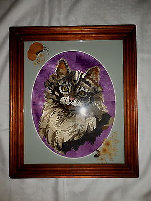 Tapestry Picture Cat Completed & Framed