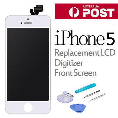For iPhone 5 LCD Screen Replacement Touch Digitizer Assembly Front Panel White