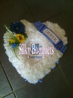 Artificial Silk Funeral Flower Rugby Football Heart Wreath Memorial Tribute Faux