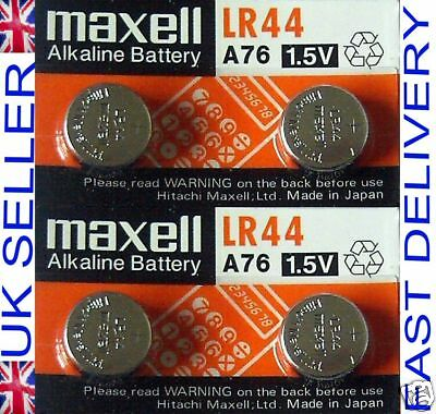 4 Maxell LR44 A76 AG13 1.5V Alkaline Cell Coin Button Batteries SALE