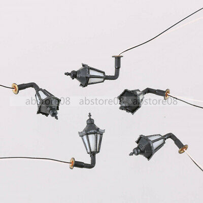 5PCS Model Railway Led Lamppost Lamps Wall Lights 1:150 N Scale 3V Warm White