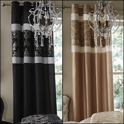 Catherine Lansfield Glamour Jacquard Luxury Lined Pair Curtains Eyelet Faux Silk