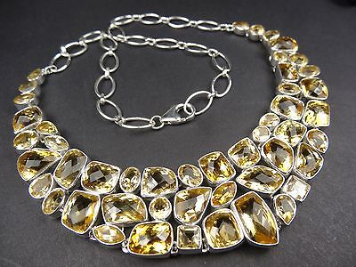 Handmade Cut Citrine Sterling Silver Necklace