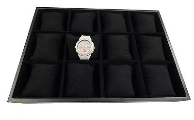NEW 12 Grid Velvet Pillow Watch / Bracelet Jewellery Storage Case Tray Display