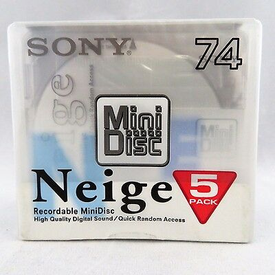 New Sony MD74 Blank Mini Disc 74 Minutes Recordable 5 disc pack Japan