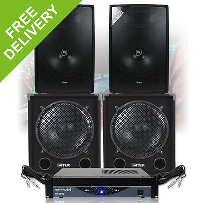 "4000W Max 15"" Speakers Deep Bass Subwoofer Amplifier Mobile DJ Disco PA"