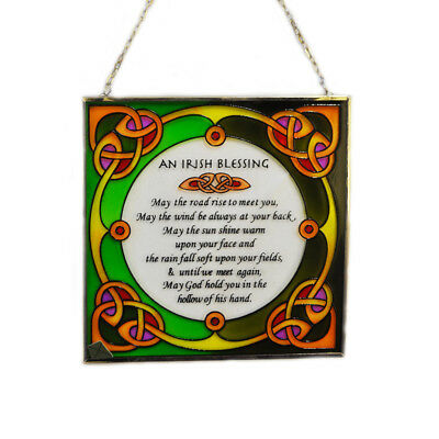 """6.5"""" Stained Glass Hanging Panel With Irish Blessing"""