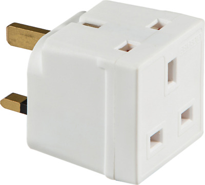 13 Amp Two Way Unfused Electrical UK Mains 3 Pin Plug Adaptor