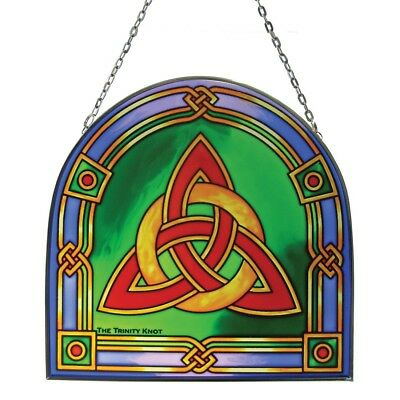 """6"""" Stained Glass Hanging Panel With Trinity Knot Design"""