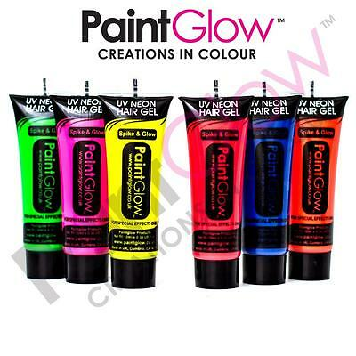 PaintGlow Neon UV Hair Gel Bright Rave Festival Party Flourescent Colour