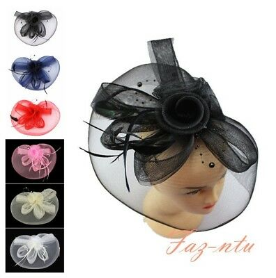 Gauze Hat Head Clip Fascinator Red Navy White Pink Black Cream Wedding Occasion