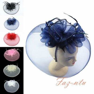 Gauze Hat Head Clip Fascinator Red Navy Black Cream White Pink Wedding Occasion
