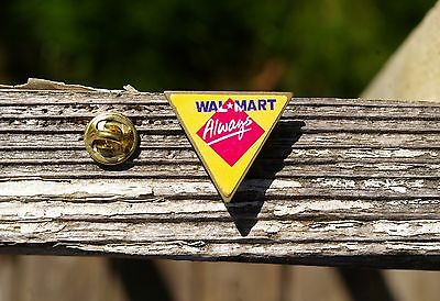 Wal-Mart Always Triangle Yellow Caution Sign Metal Lapel Pin Pinback