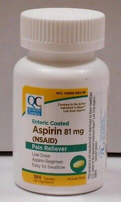 Quality Choice Enteric Coated Low Dose Aspirin 81mg Tablets 365ct
