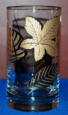 Vintage Mid Century 8 Libbey Gold Leaf Gold Trim Drinking Juice Glassware ~Ss2~