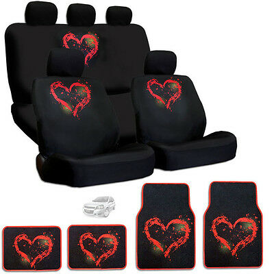 New Design Semi Custom Size Large Red Heart Car Seat Cover Mat Set For Chevrolet