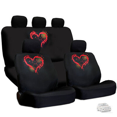New Design Semi Custom Size Large Red Heart Car Seat Covers Set For Vw