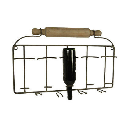 NEW Rolling Pin Wine Bottle And Glass Rack