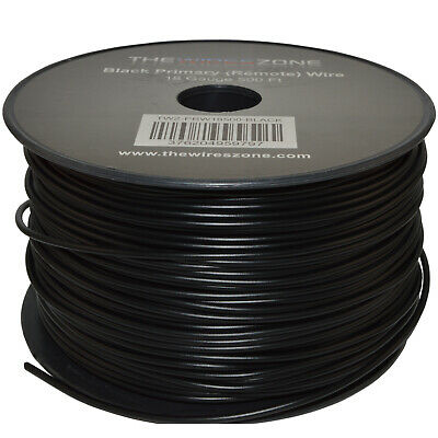 Black 18 Gauge AWG 500' Feet ft Stranded Primary Remote Wire Cable