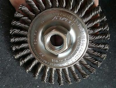 """4"""" 5/8-11 Twisted Knot Wire Grinder Wheel Stringer Bead Industrial Advance 82186"""