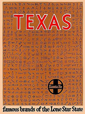 Texas Santa Fe Lone Star State United States Travel Advertisement Poster